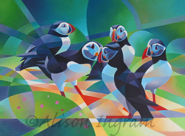 Puffins-Courting